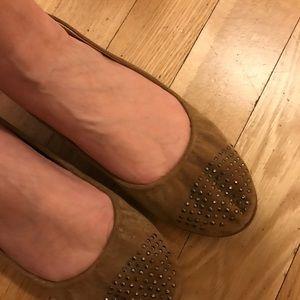 J.Crew Suede Studded-Toe Ballet Flats